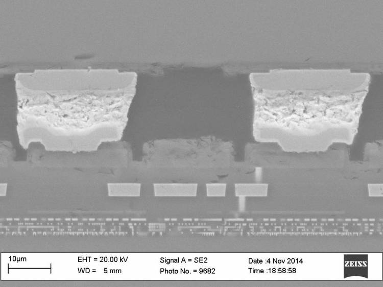 SEM image; CMOS ASIC at bottom