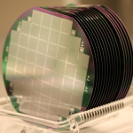 "Pixel side of planar silicon sensors on 6"" wafers of various thicknesses."